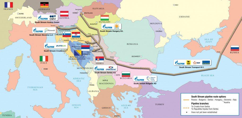 Die seinerzeitigen Routenoptionen der South Stream-Pipeline, Quelle: TASS